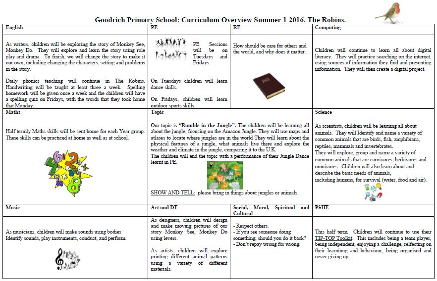 Robin's Summer Curriculum Overview