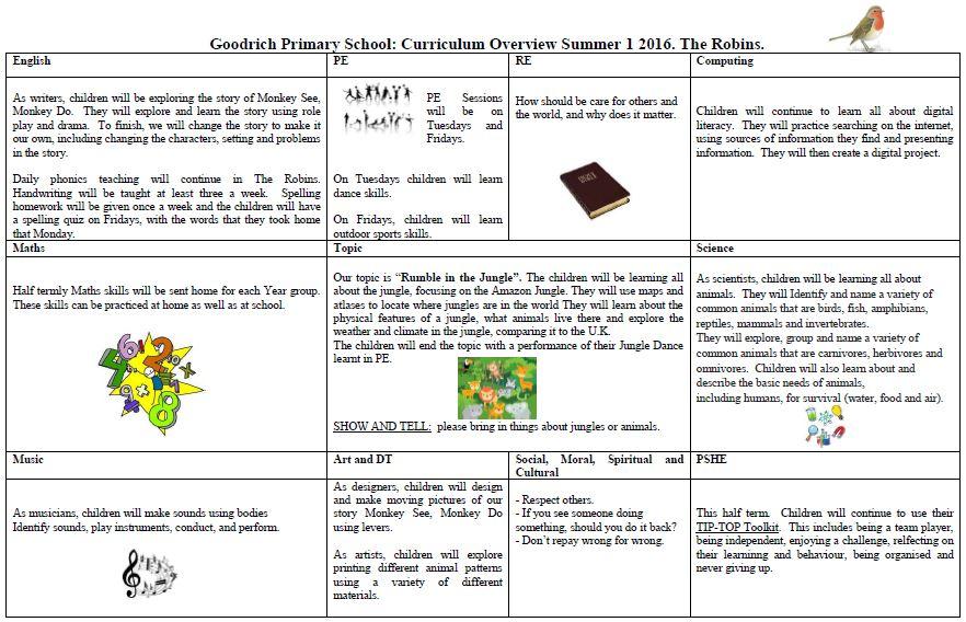 Robin's Summer Curriculum Overview