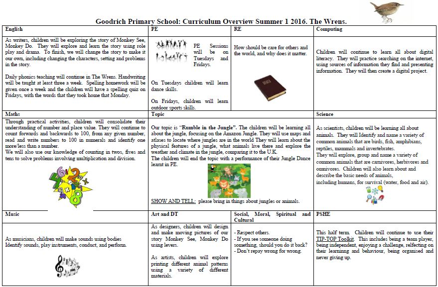 Wren's Summer Curriculum Overview